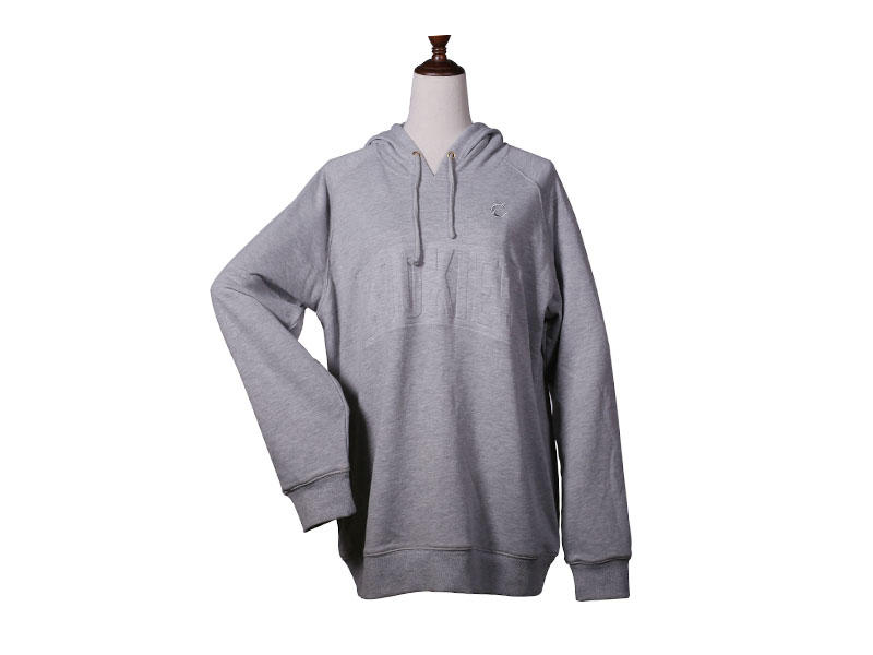 Long Sleeve College Sweatshirts with Hoodie Side Pocket Grey color