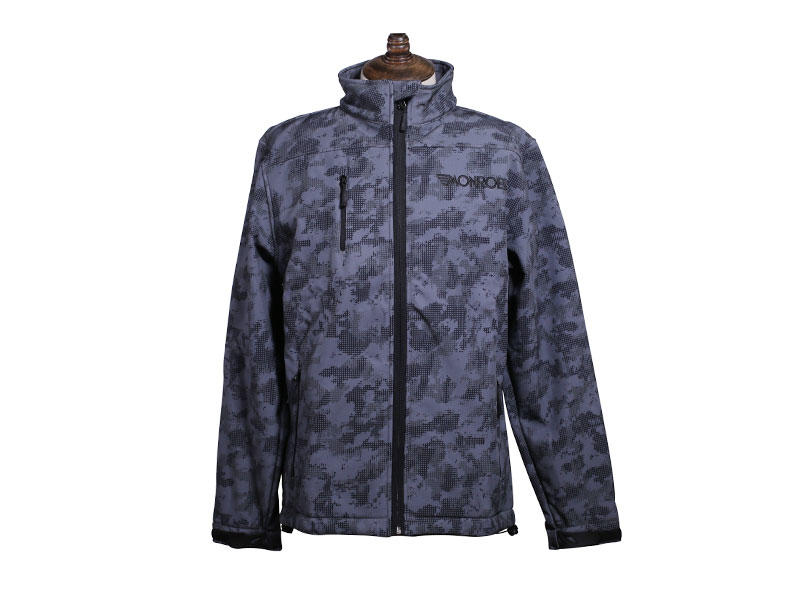 Custom Printed Winter Softshell Jacket Long Sleeve Full Zipper Windproof