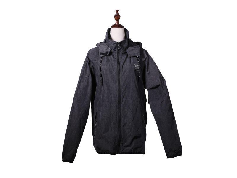 Outdoor Polyester Poplin WR WP Lightweight Mens Sports Jacket with hood