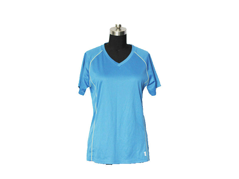 Light Blue Women's Sports Active Running T Shirts Shorts Sleeves, Quick Dry Training Shirts Custom Logo Gym Top Running Tee Shirts
