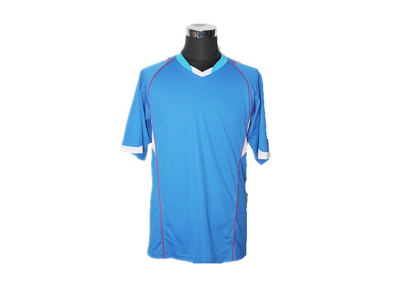 V Neck Polyester Sky Blue Polo Shirt, Casual Wear Mens Short Sleeve Polo T Shirts
