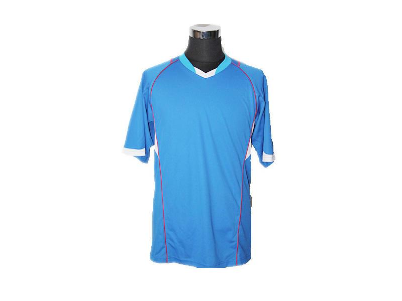 V Neck Polyester Sky Blue Polo Shirt, Casual Wear Mens Short Sleeve Polo T Shirts