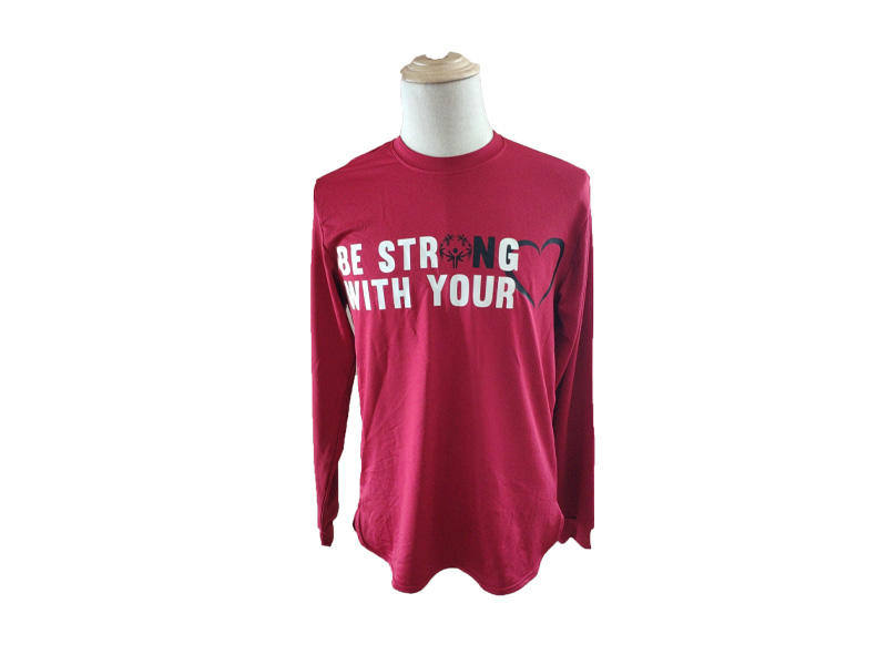 100% Polyester Long Sleeve Sport T shirt With Printed, Unisex O Neck T Shirt For SOO