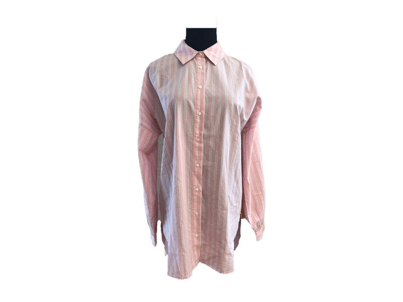 Plus Size Long sleeve Button lapel Woman Causal Blouse and Top, Pink and White Striped Turn Down Collar Shirt for Lady