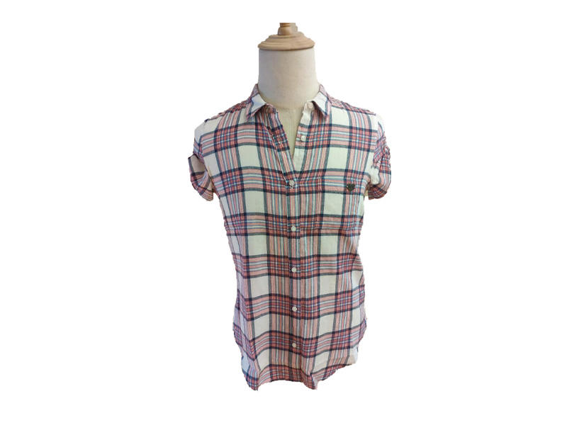 Summer Cotton Shirt Fashion Turn down Collar Woman Tops Woman Short Sleeve Slim Fit Plaid Shirt Blouse and Tops