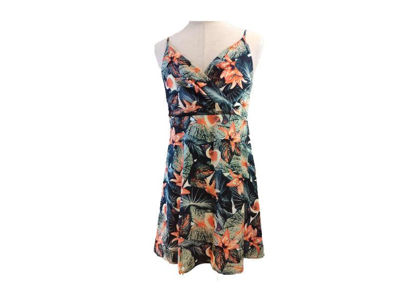 Lady Party Dress Summer Halter Sleeveless Flower Printed Mini Women Dresses Casual Beach Dresses