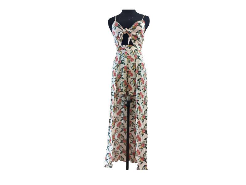 Summer sexy style women's suspender dress open leg Deep V-neck Long dress evening dress