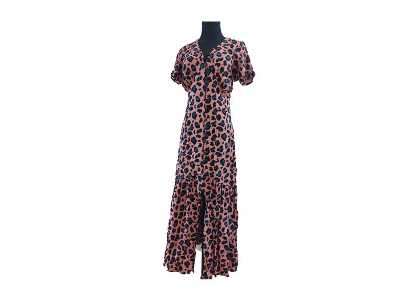 Summer Printed Short Sleeve Women Ladies Long Dress