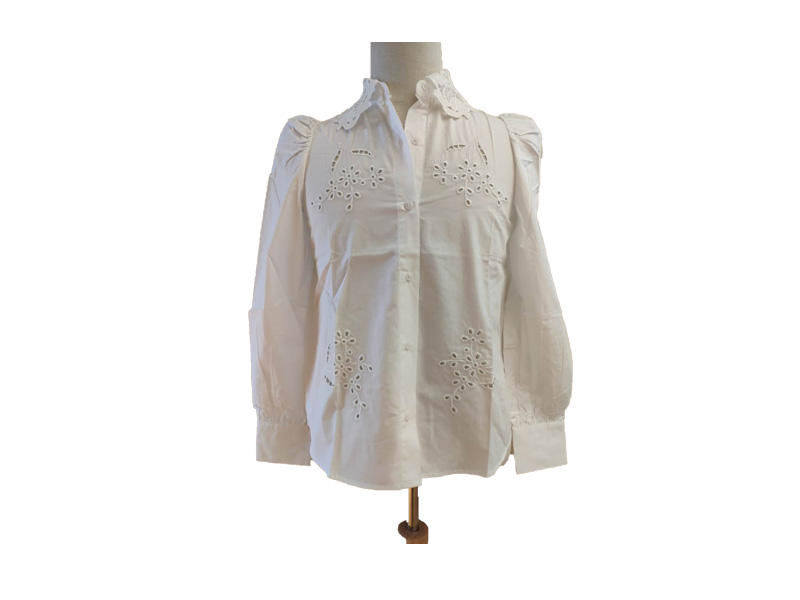 Women Embroidery Long Sleeve Top Turn Down Collar White Puff Sleeve Blouse and Shirt