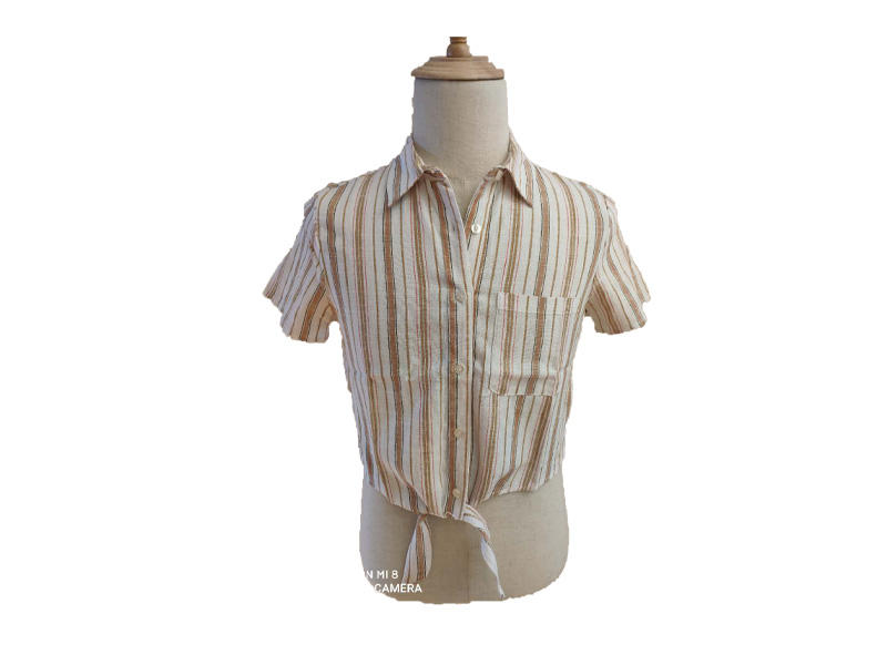 Tie Front Short Sleeve Brown Stripe Woman Blouse and Tops, Turn Down Collar Button Women Shirt