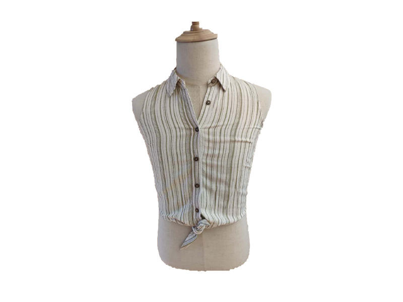 80% Viscose 20% Lino Green Stripe Women Blouse, Tie Front Sleeveless Turn Down Collar Button Women Shirt