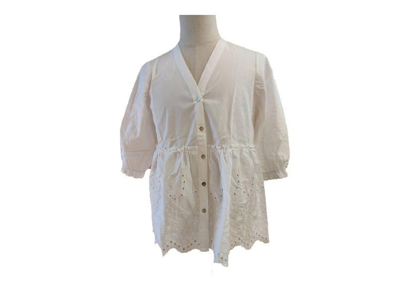 Women White Puff Half Sleeve Blouse and Top, Ladies V Neck Embroidery Shirt