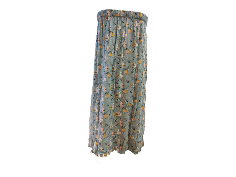 100% Viscose Fresh Green Flower Printed Elastic Waistline with Bottom Women Skirt