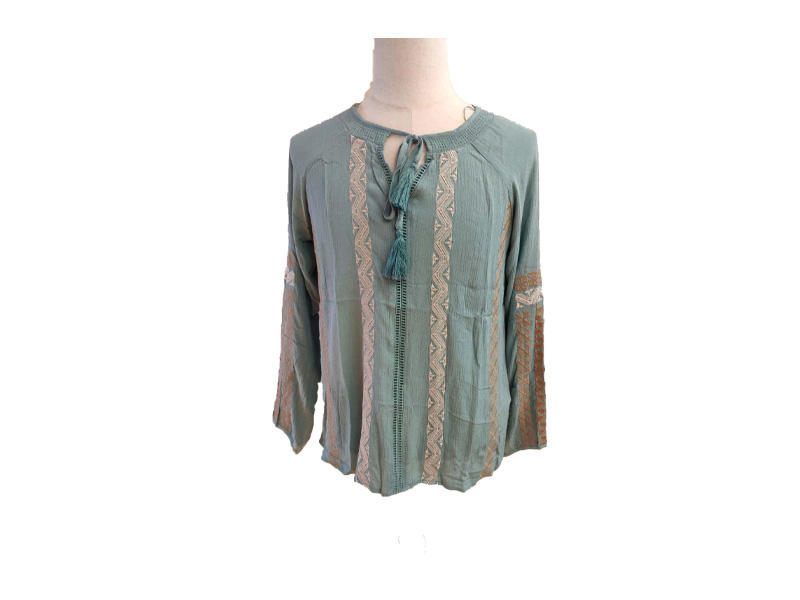 Blouse100% Viscose Marine Blue Embroidery Long Sleeve for Women