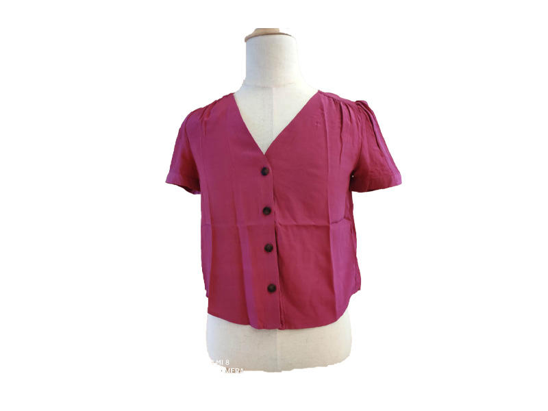 Red Puff Short Sleeve Blouse and Top for Women, Ladies Buttons V Neck Shirt