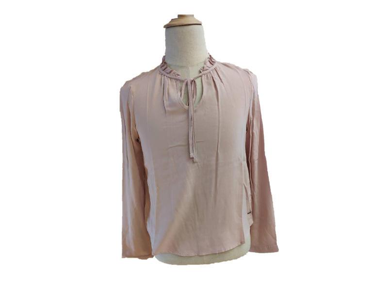 100% Viscose Ruffles at Collar Belted Blouse and Shirt, Women Pink Print Long Sleeve Shirt
