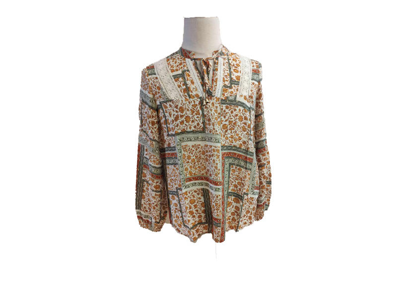 Ladies Lace-up Neck Flare Long Sleeve African Chain Print Blouse