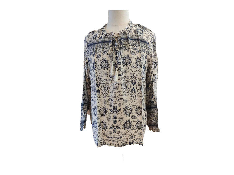 Long Sleeve Lace-up Ruffles Women's Blouse and Top, Floral Print O-Neck Shirt for Ladies