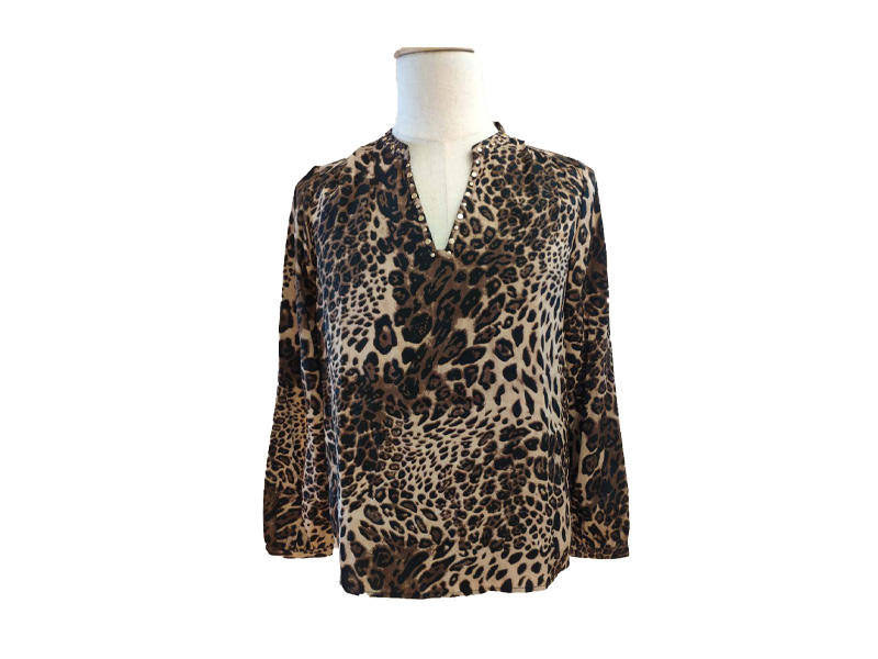 New Design V Neck Leopard Print Long Sleeve Lady Casual Women Top Shirt Blouses