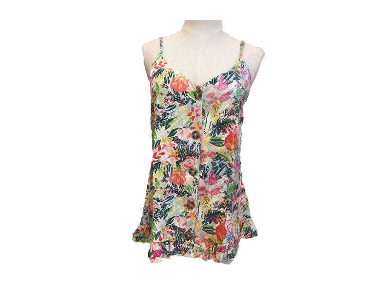 Adjustable Shoulder Straps Floral Print Fashionable Tank Tops Sleeveless Women Viscose T- shirts Casual Blouse