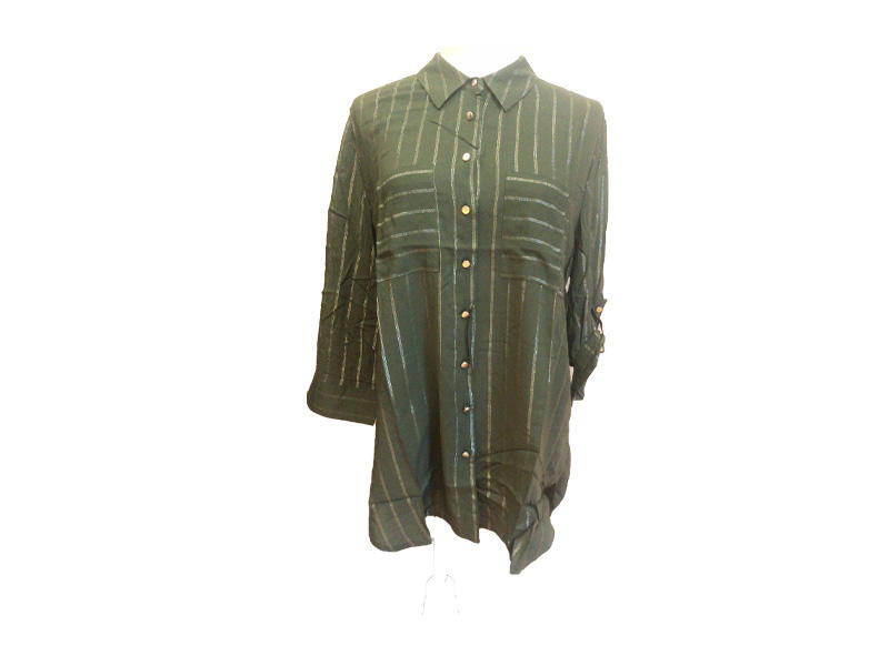98% cotton and 2% metallic wire Lady Turn Down Collar Button Down  Long Sleeve Shirt Blouse