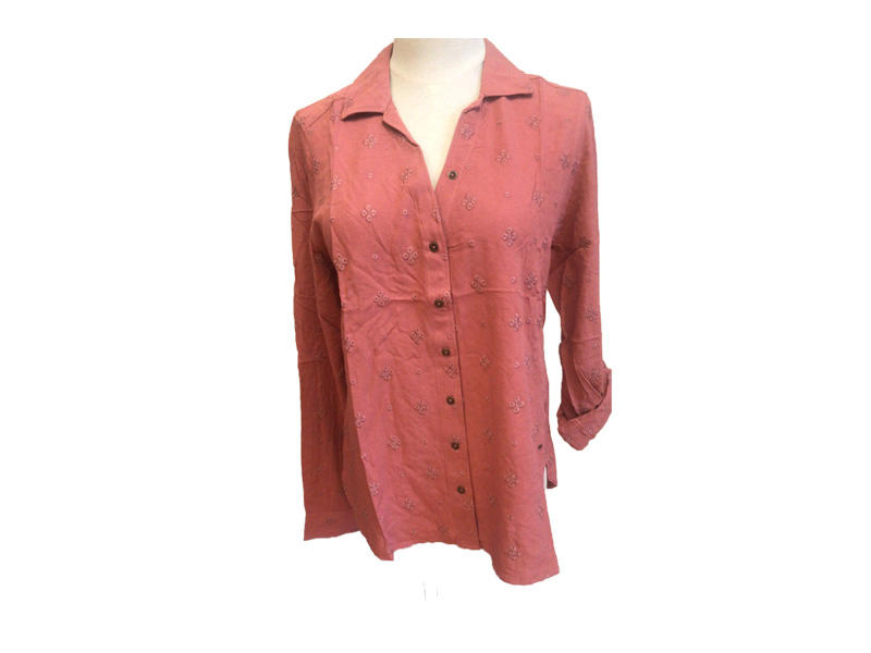 100% Viscose Lady Embroidered Turn Down Collar Button Down Long Sleeve and Roll Sleeve Blouse for Women